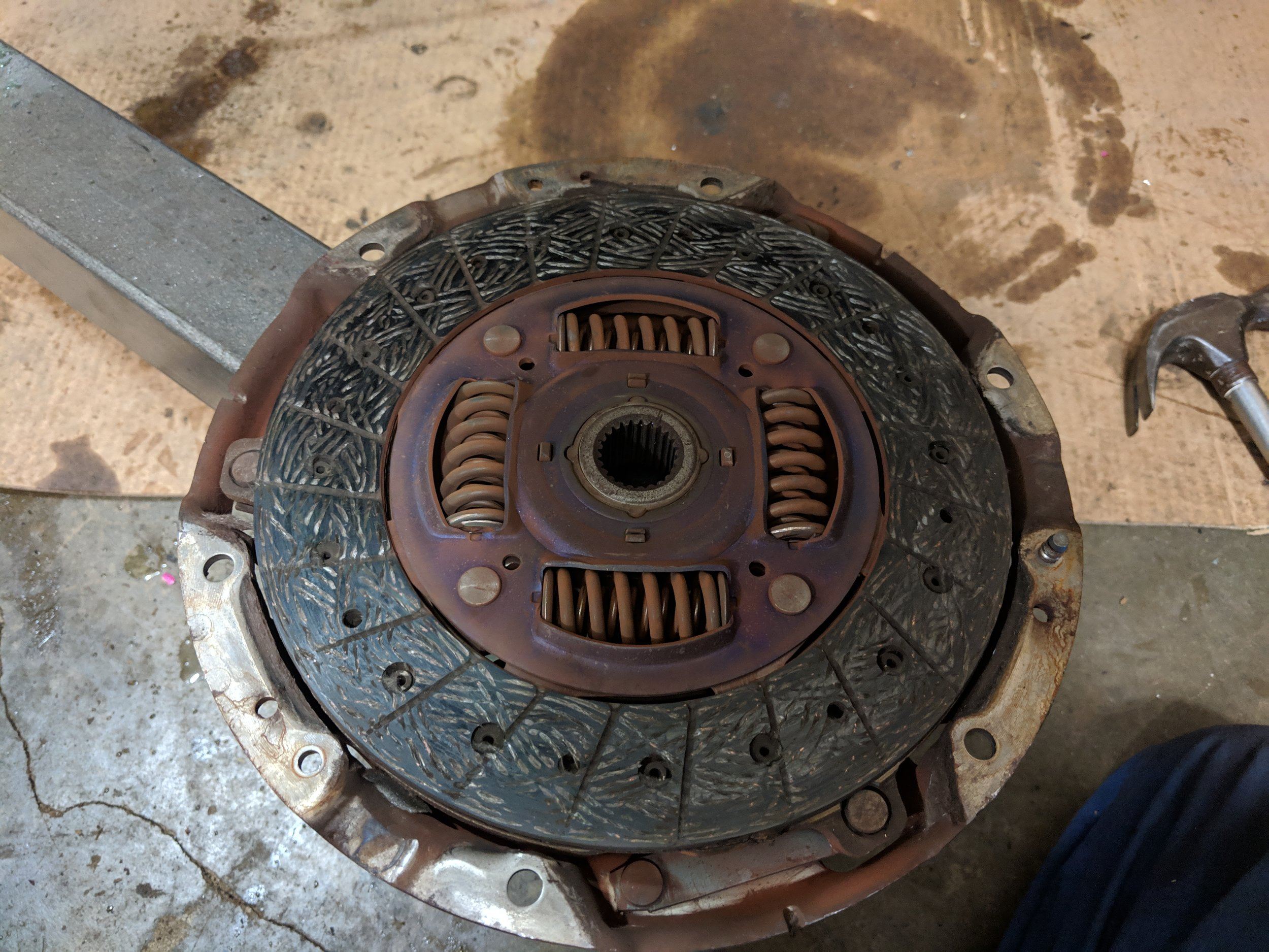 Old flywheel was just above the rivets. Ready to be replaced.