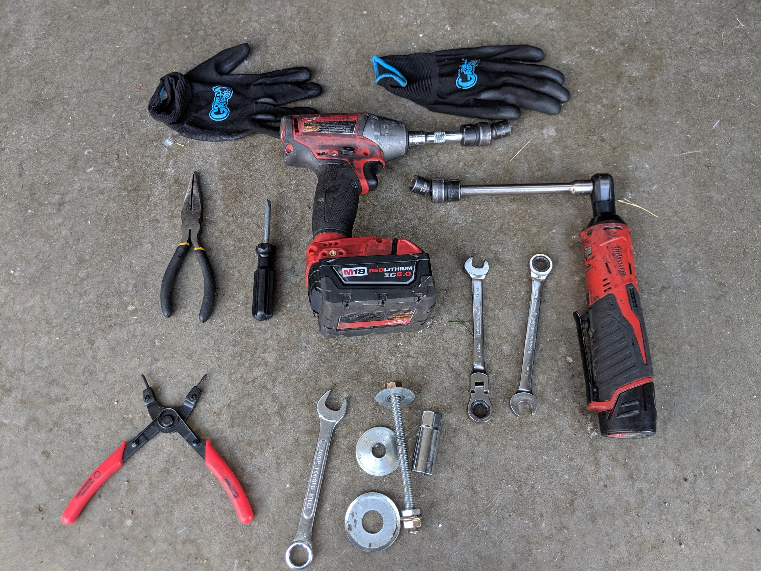 Here are the tools you will need!   12mm Gearwrench ratcheting wrench swivel head   Gearwrench metric ratcheting swivel head wrench set    Non marring body panel tool set   Proto 4 piece Screwdriver set   Raven nitrile gloves 100ct   Gorilla grip large gloves   Danco Silicone Grease    Needle nose pliers