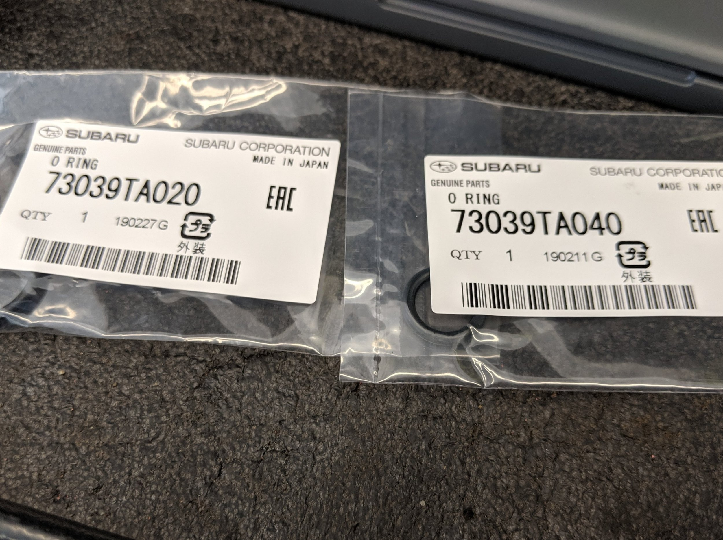 These are two of the most common Subaru o-rings to replace. These are the two o-rings used in this repair. Subaru o-ring  73039TA020  and  73039TA040