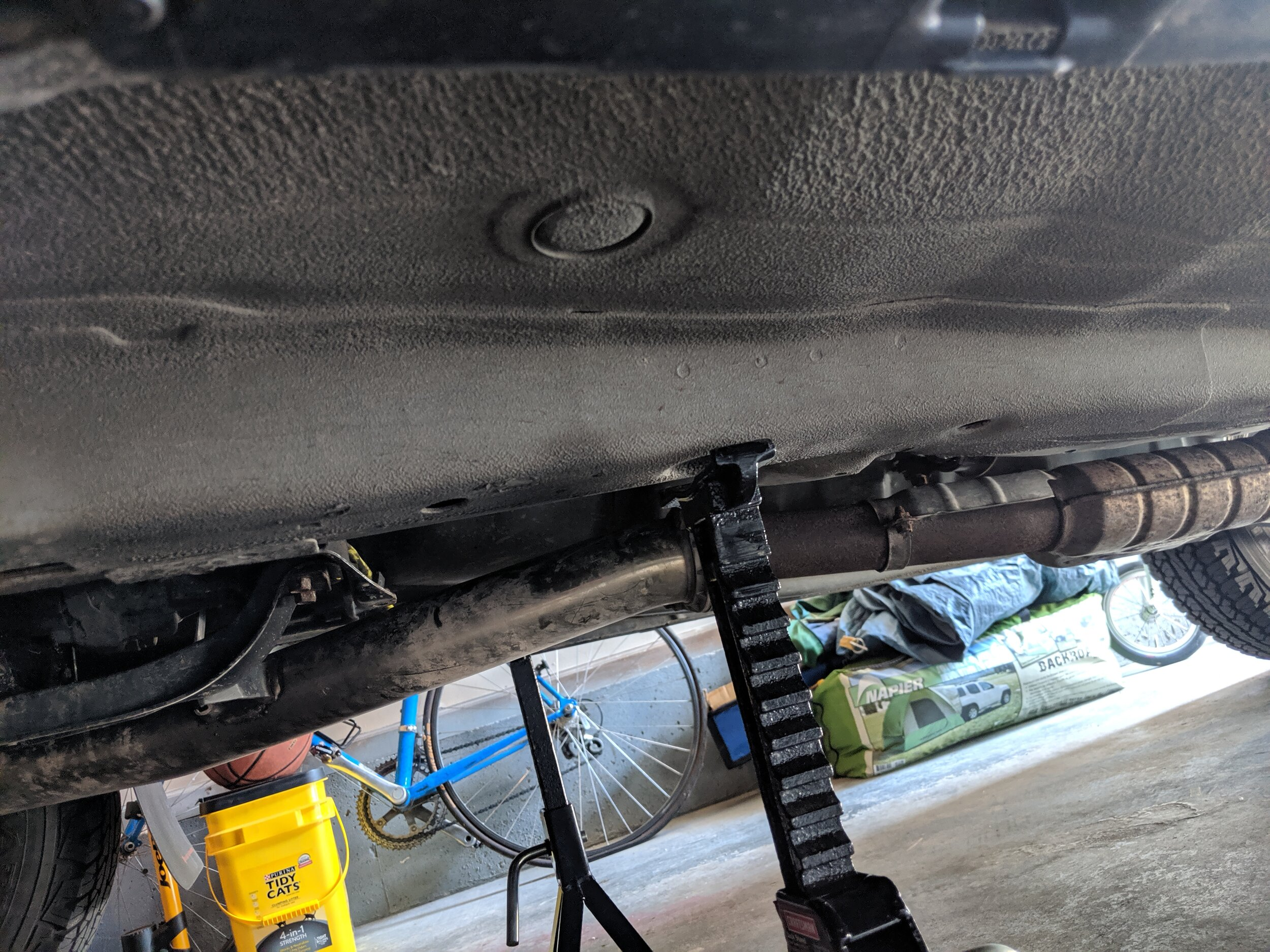 This is an excellent location to support your vehicle while giving you a good amount of height to make working underneath the car easier.