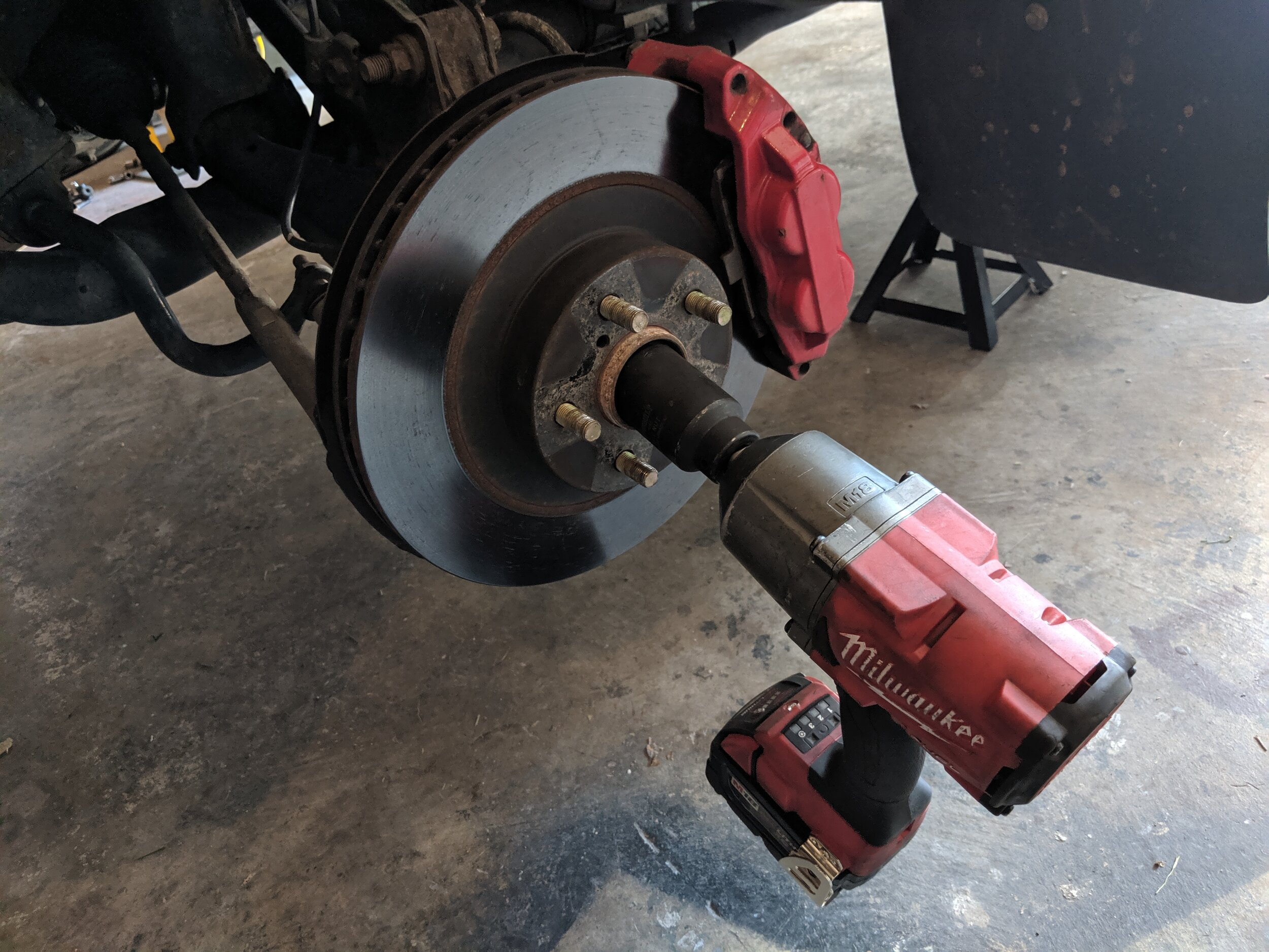 Off with the axle nuts. This is just a precaution when you are moving the spindle around. If you move it too far with the axle nut bolted on, you can accidentally pull the axle apart. Making your fun install a less fun time.