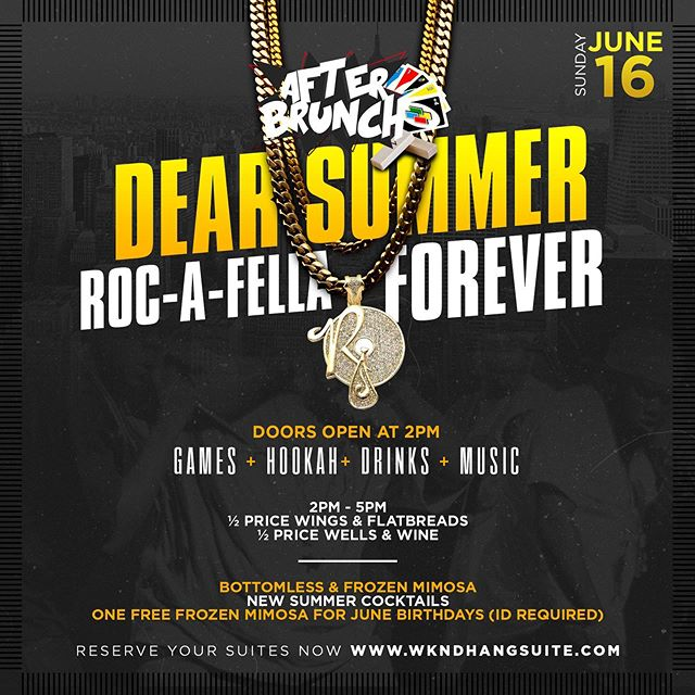 #AfterBrunch kicks off at 2pm today with 1/2 off Flats and Wings. Plus bottomless mimosas and frozen drinks on deck. Grab a deck of cards or a board game and lounge out at the best place to hang & chill in the Ville every Sunday afternoon. Special tribute to the music of #Rocafella Records! #letshang #everydaystheweekend #wkndhangsuite #nashvillebrunch
