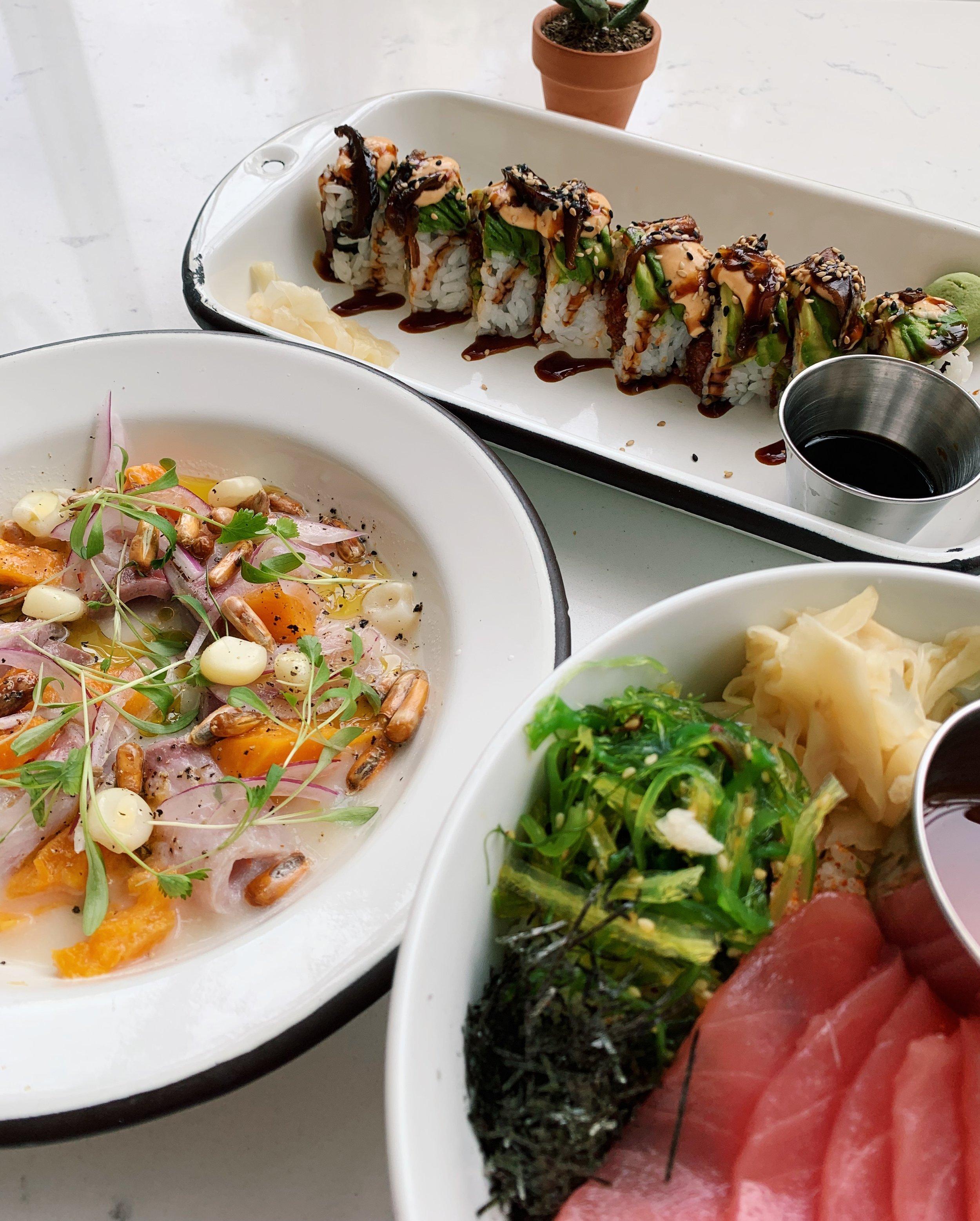 Tiradito (sashimi-y ceviche), tuna bowl, and sushi roll at Itamae | Miami Design District