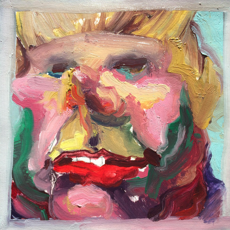"""Blondie  2016 4"""" x 4"""" oil on paper"""