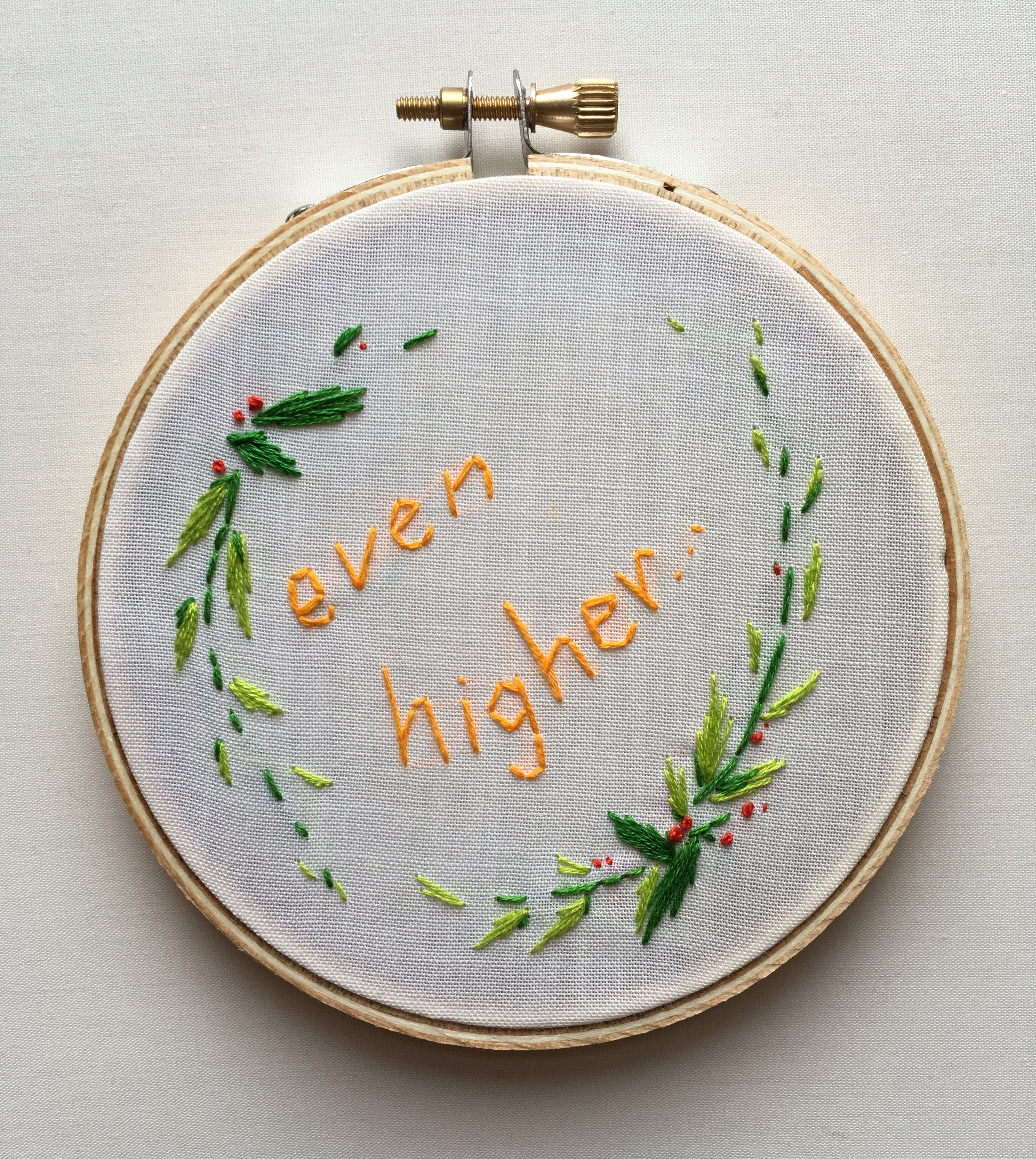 """Even Higher…  2017 4"""" embroidery"""