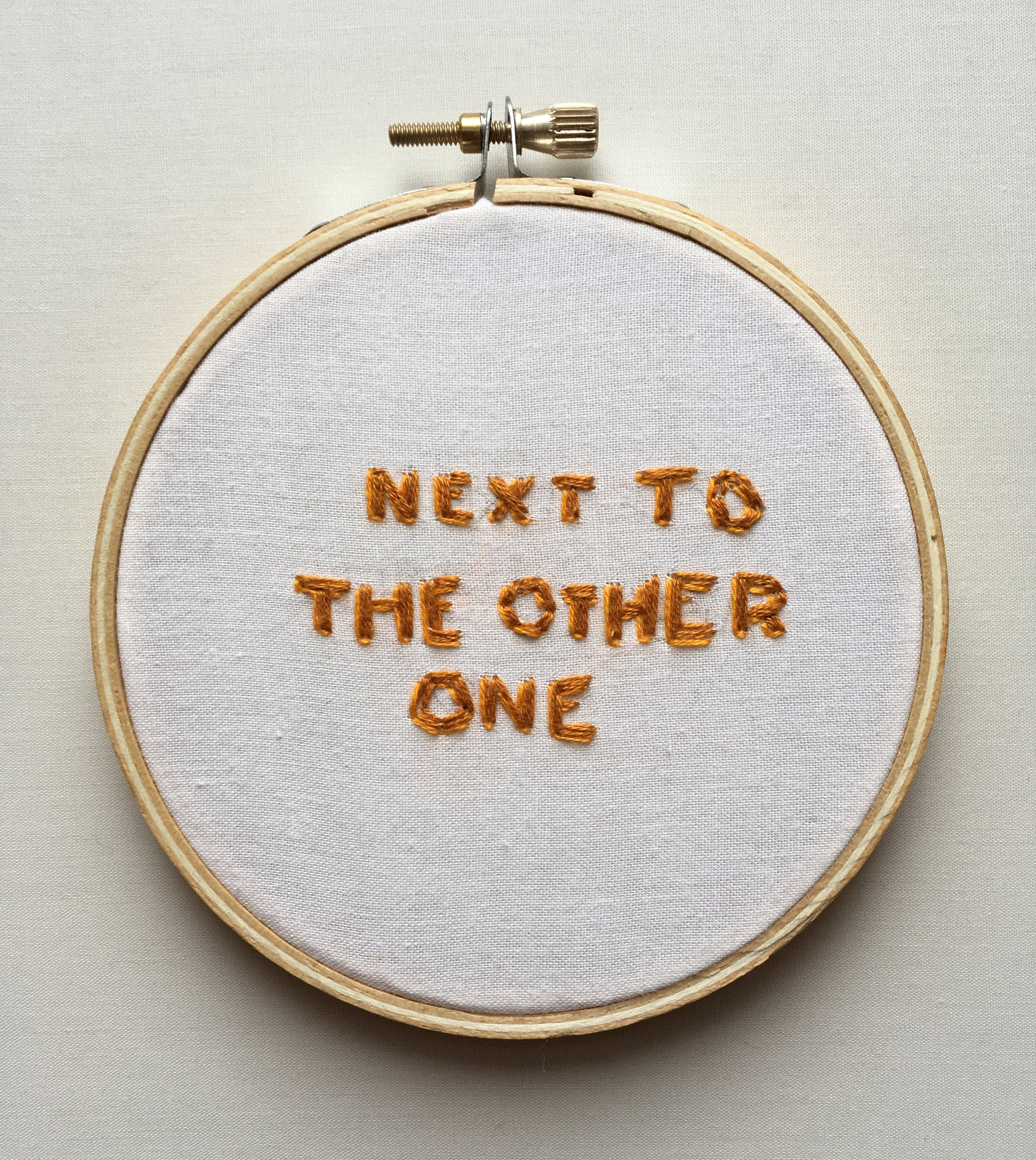 """Next to The Other One  2017 4"""" embroidery"""