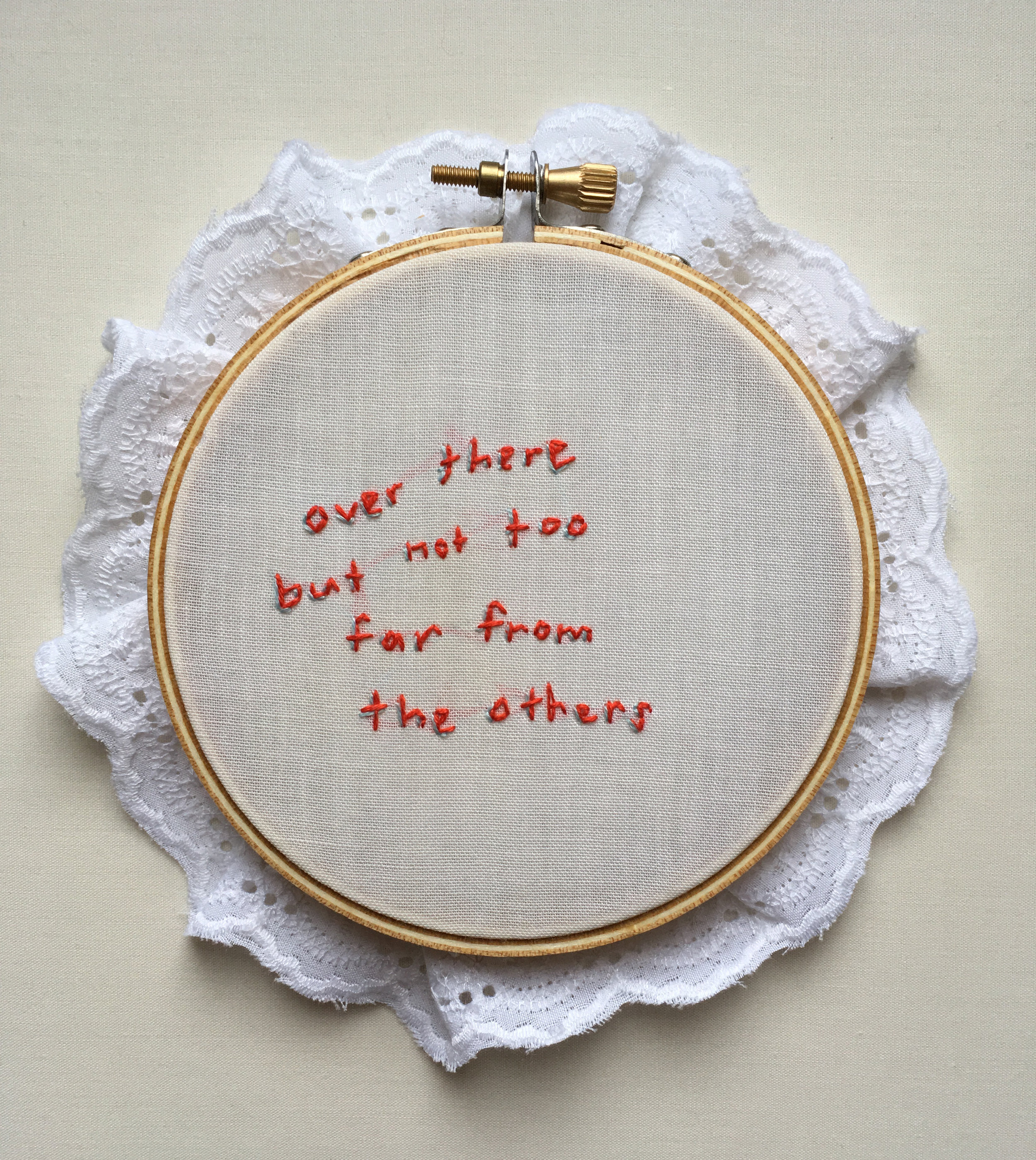 """Over There  2017 4"""" embroidery with lace"""
