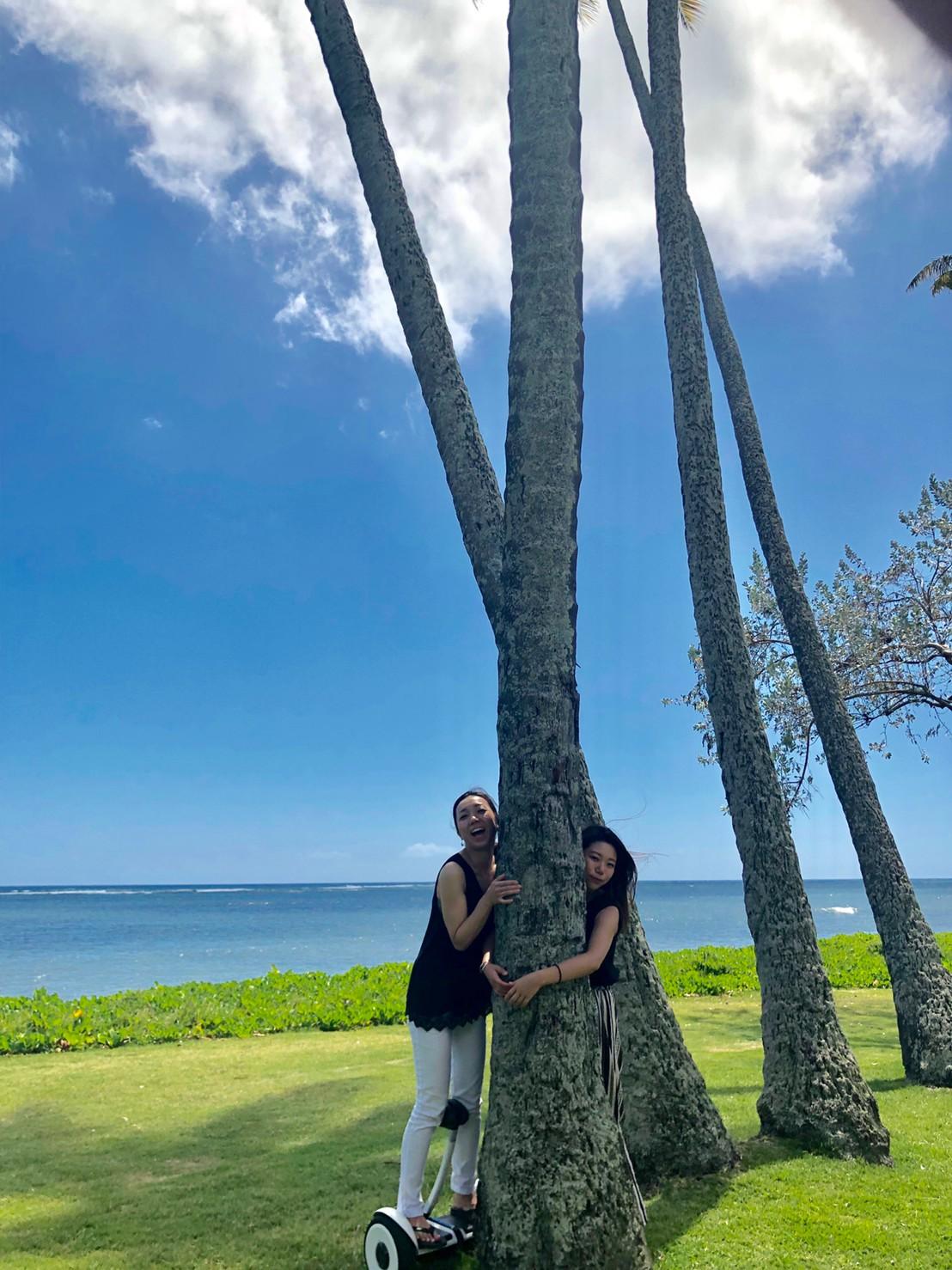 友人とハワイで。