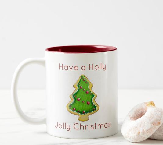 """Holly Jolly Christmas Tree Mug"" available in my  Zazzle shop"