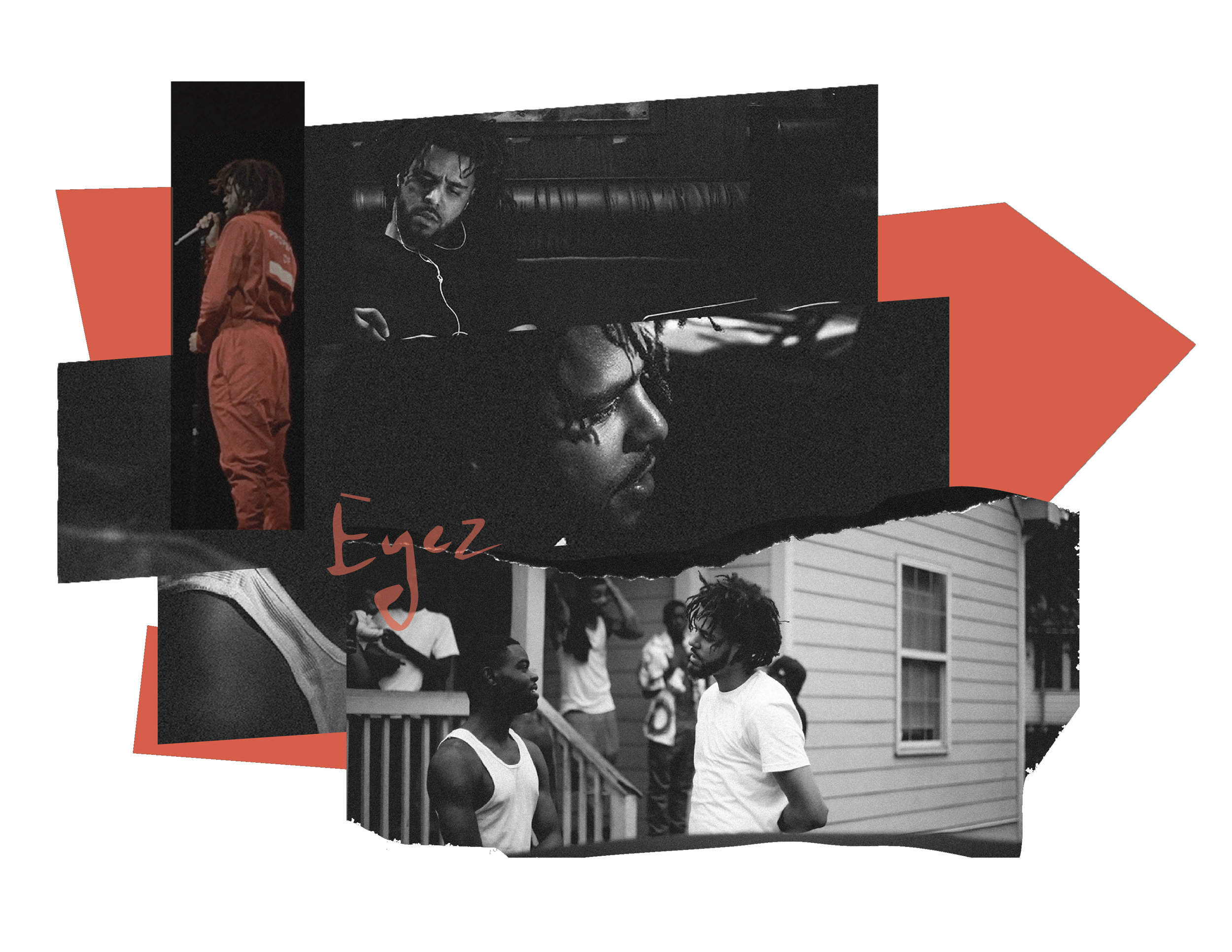 """J. Cole Photo mash-up, using images from the """"4 Your Eyez Only"""" tour."""
