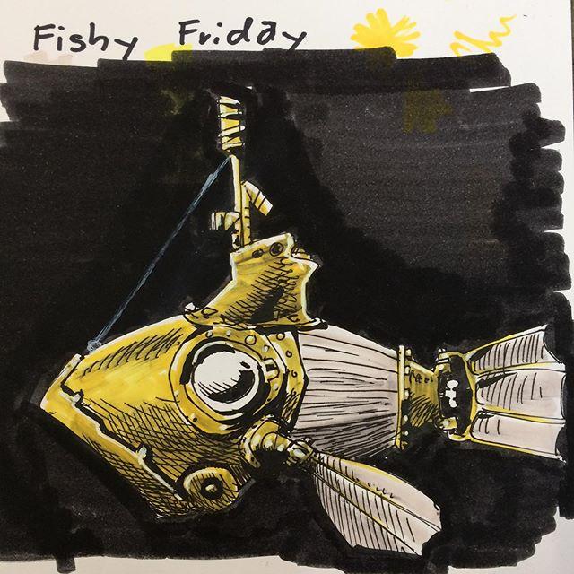 Submarine without any lantern #fishfriday #fridays #illustree #freitagsgibtesfisch #freitagsfisch #submarine #sketchbooks #nauticwalking #deepocean