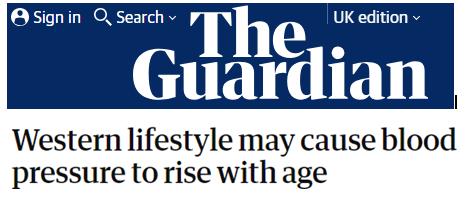 El estilo de vida occidental podría provocar un incremento de la presión arterial con la edad