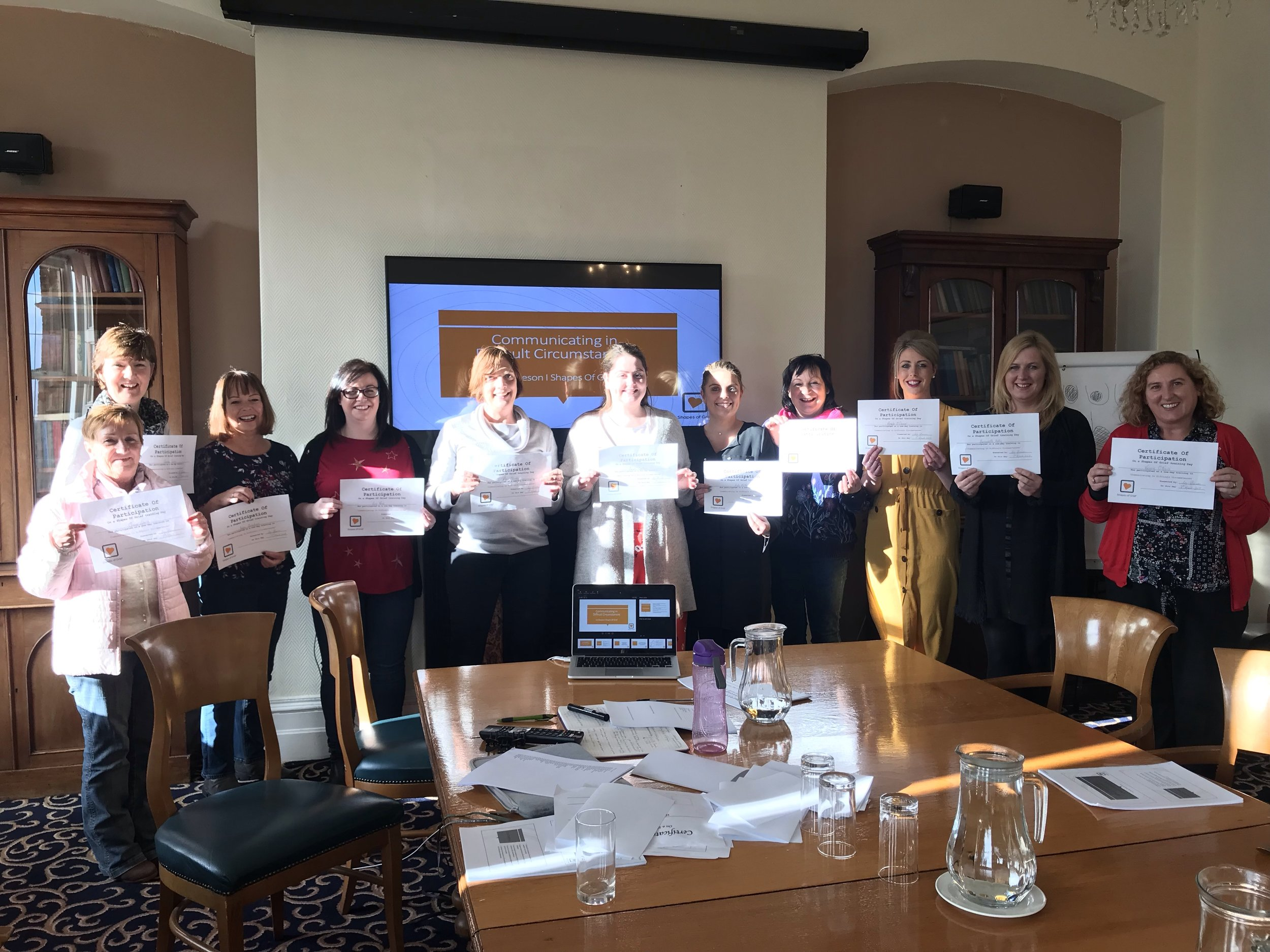 "Liz Gleeson, Bereavement & Loss Therapist, Trainer and Educator  Photo shows non-clinical staff from Pieta House who completed a training in ""Communicating in Challenging Circumstances"""