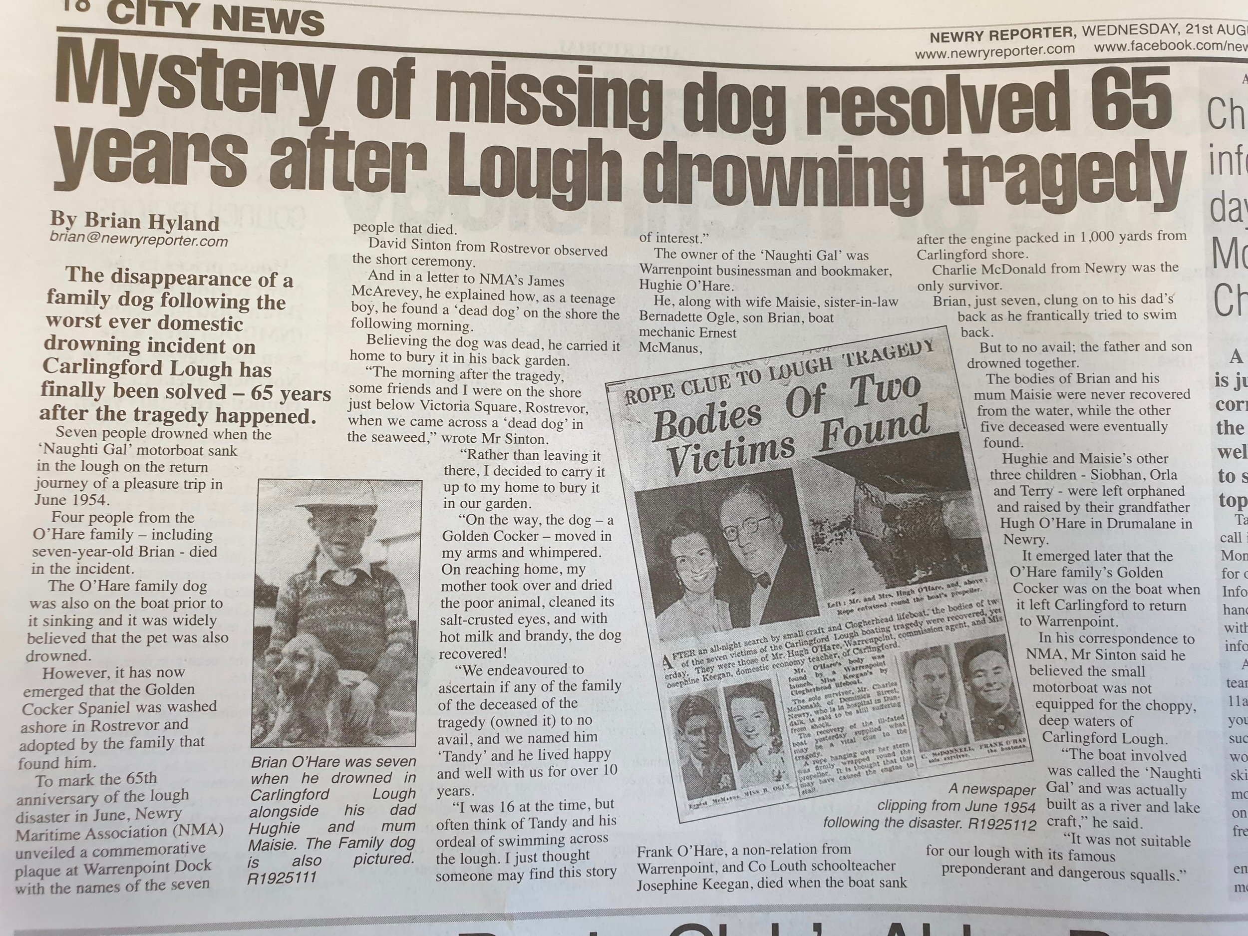 The article that appeared in the local paper in August 2019