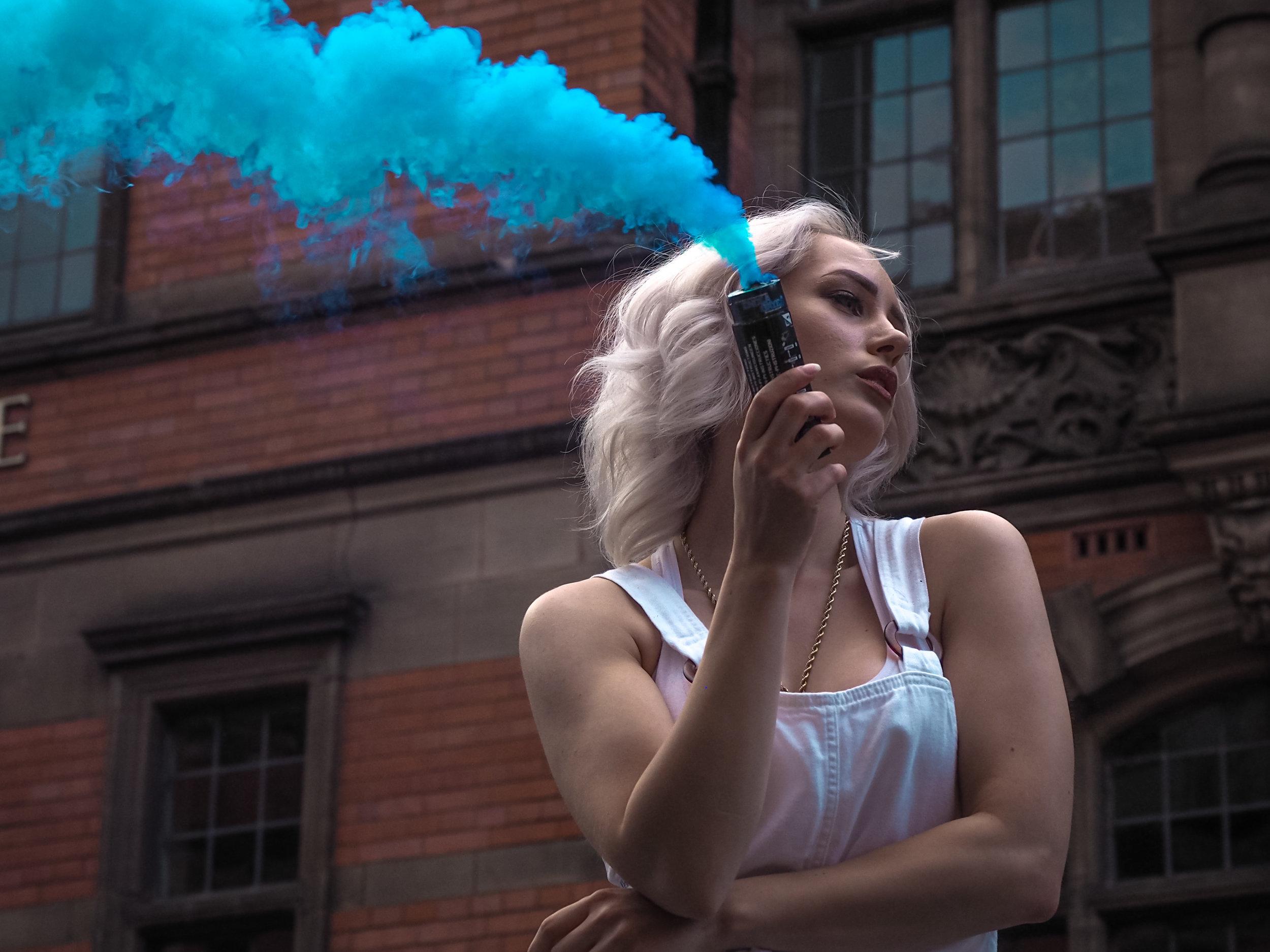 Blue smoke posing