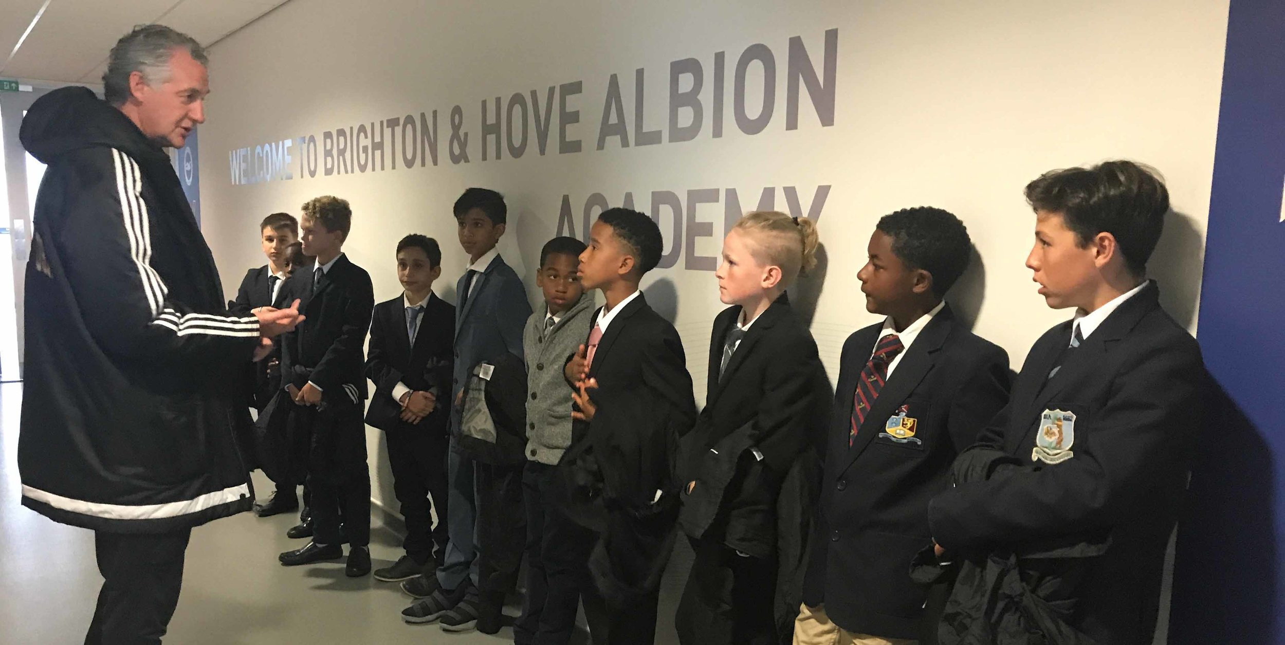 Coach Tony with Squad at Brighton & Hove Albion Academy