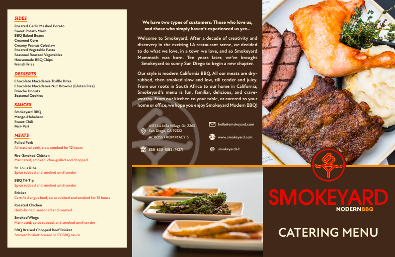 Smokeyard Catering Menu