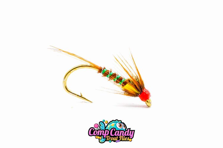 STUNNING QUALITY!! 6 x DIAWL BACH HOLO RED NYMPH TROUT FISHING FLIES SIZE 10
