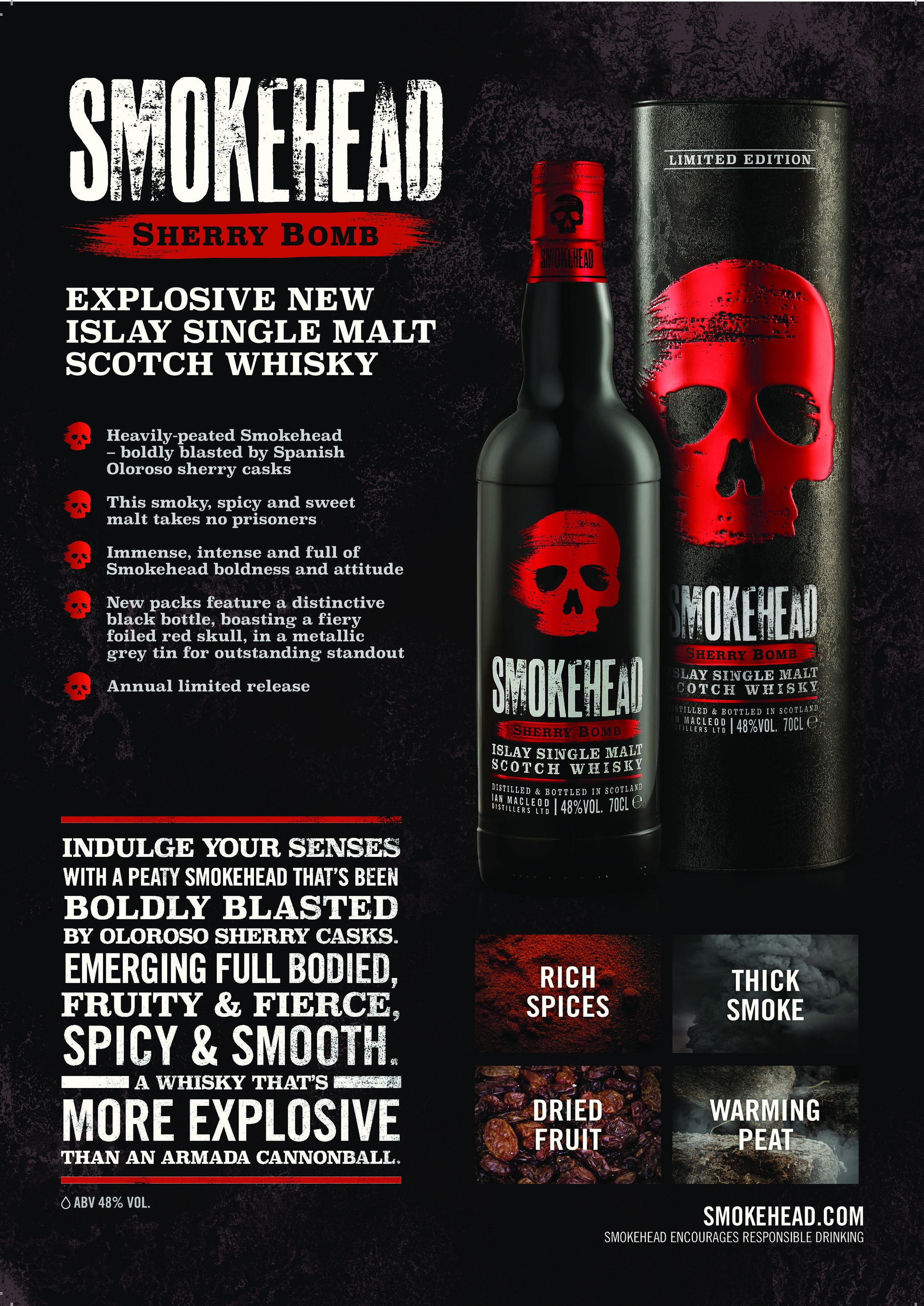 ON & OFF PREMISE Smokehead Sherry Bomb Sales Sheet, two-sided PDF.