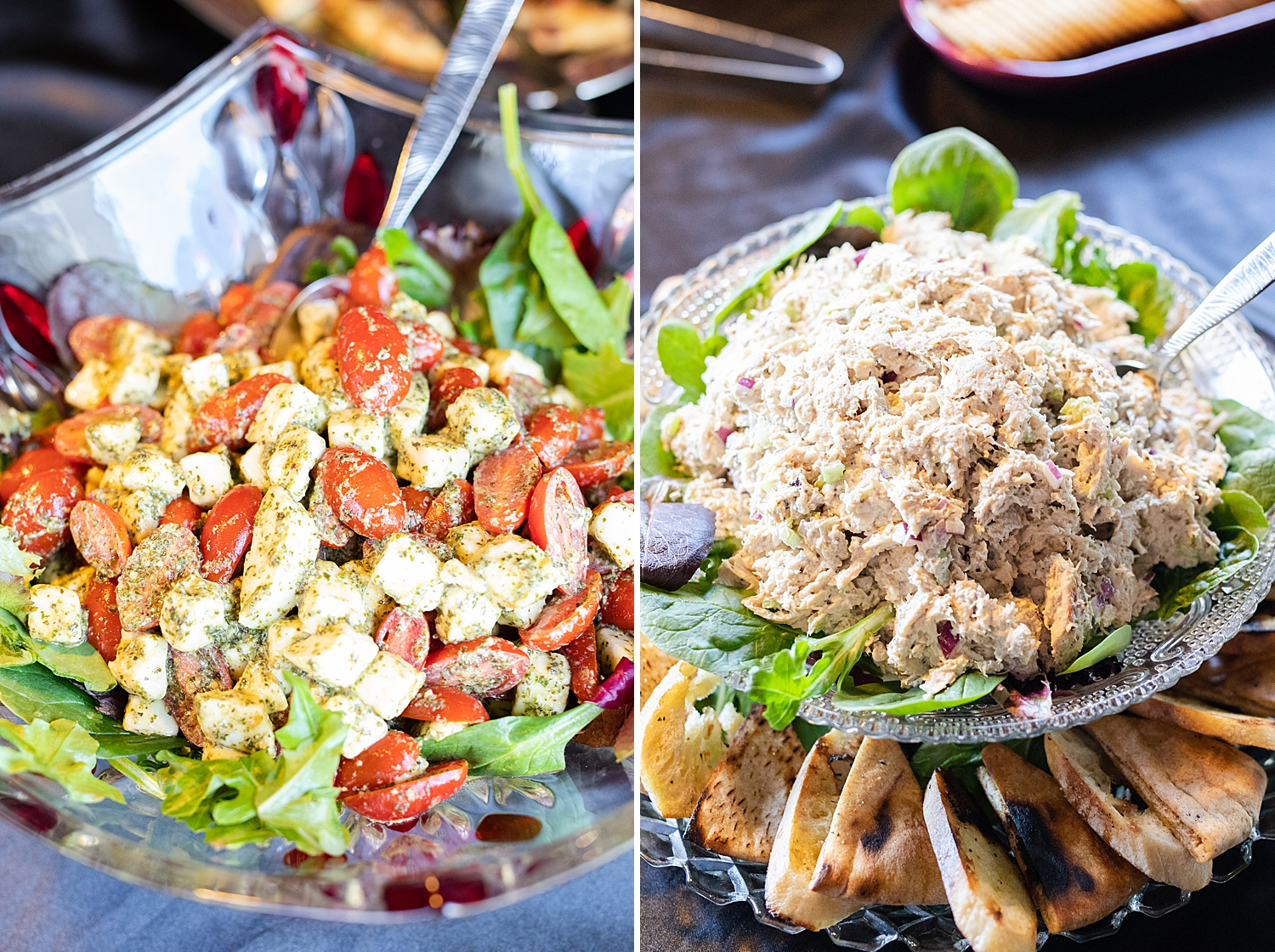 Fresh Tomato Caprese Salad and the House Chicken Salad