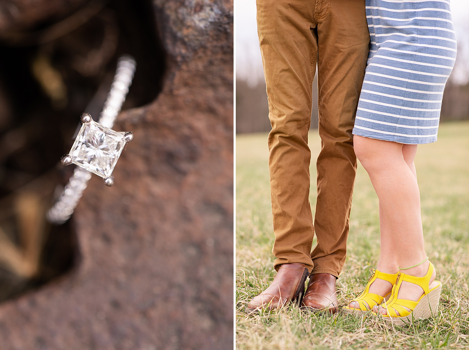 The abandoned rail road tracks made the perfect backdrop for these ring shots!  I usually don't like the the color yellow, but I am obsessed with these shoes!!