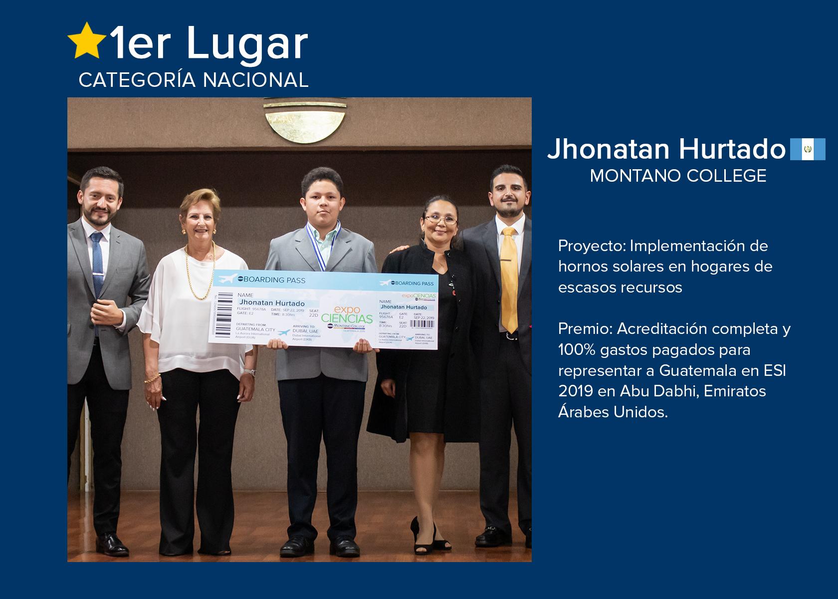 PRIMER LUGAR:  JHONATHAN HURTADO