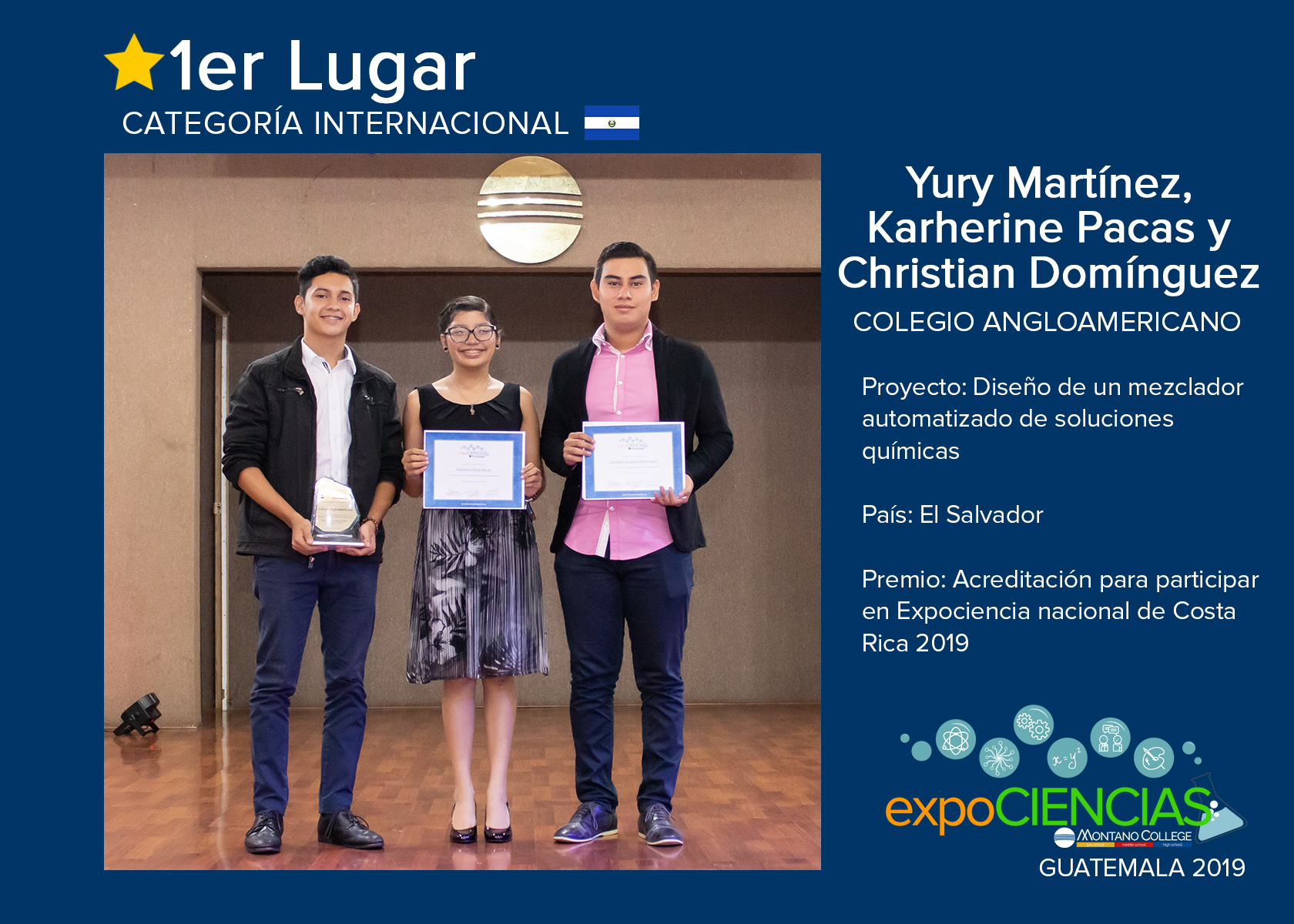PRIMER LUGAR:  YURY MARTÍNEZ, KATHERINE PACAS Y CHRISTIAN DOMÍNGUEZ