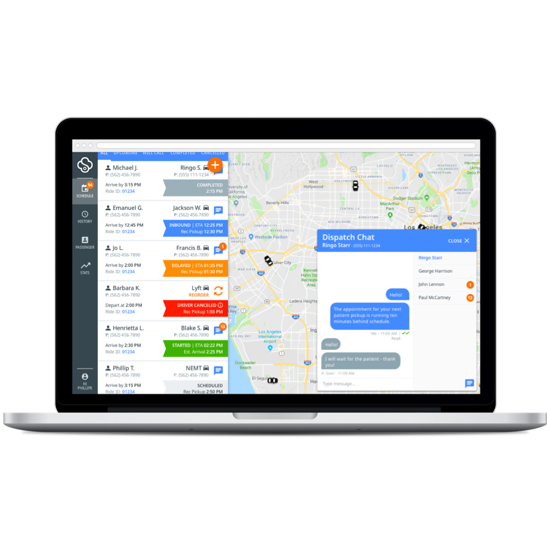 driver communication tools - You also have the ability to communicate directly with the drivers supplying rides to patients. Our driver communications tools can be used to notify drivers of schedule changes or special requests, as well as to get real-time updates on potential no-shows and late arrivals.