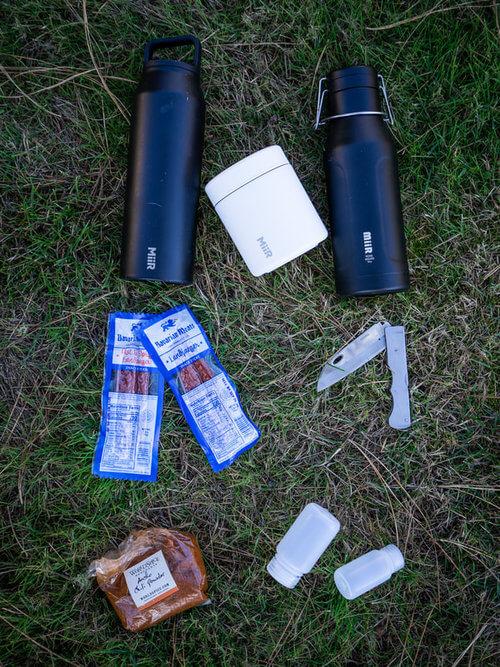 Camping backpacking Items. Bavarian Meats. Miir Bottles, World Spice Market. Naglene Bottles. AG Russell.