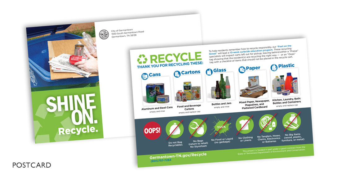 City of Germantown: Recycling Campaign: Direct Mail Postcard