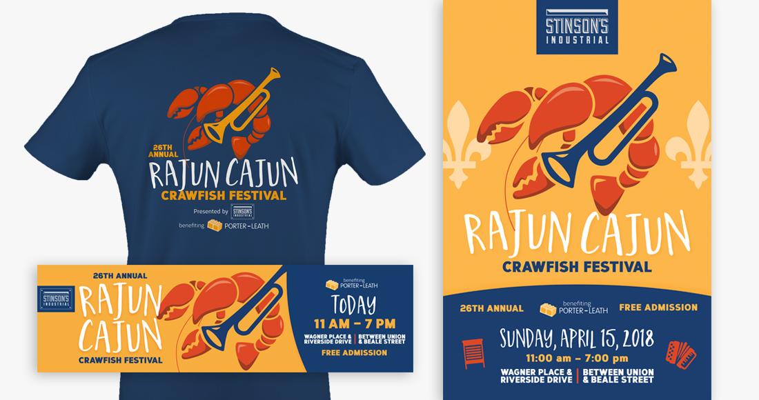 26th Annual Rajun Cajun Crawfish Festival: T-shirt, Poster, and Banner Ad
