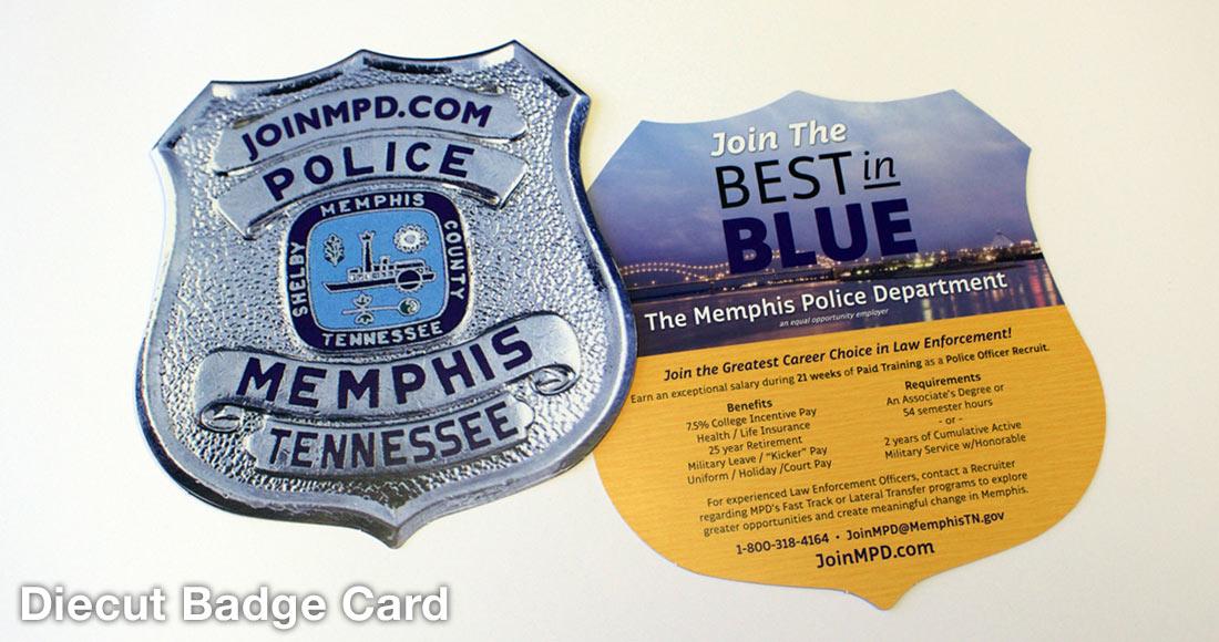Memphis Police Department Recruiting Campaign: Die-Cut Badge Card