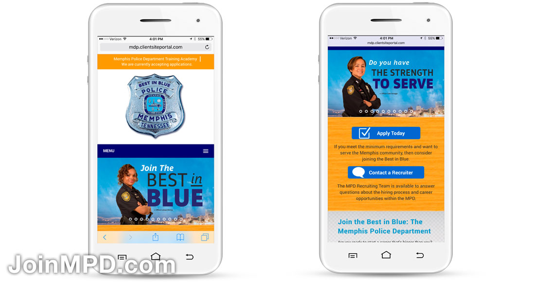 Memphis Police Department Recruiting Campaign: Website - mobile view