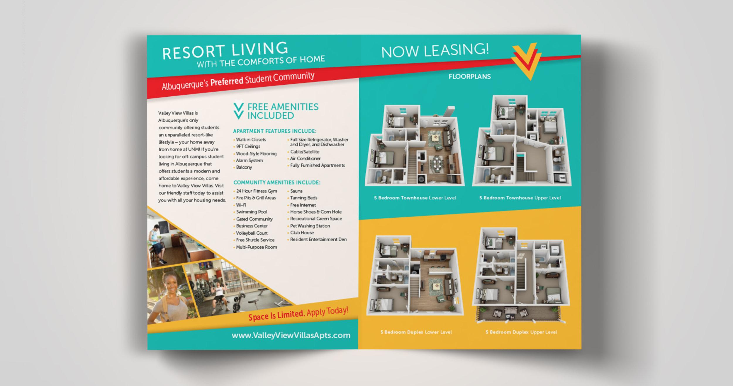 Valley View Villas: Rebranding: Inside of Brochure