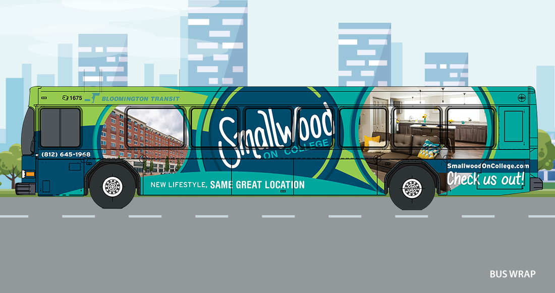 Smallwood on College Bus Wrap Design