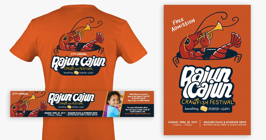 27th Annual Rajun Cajun Crawfish Festival Tshirt, Poster and Banner Ads