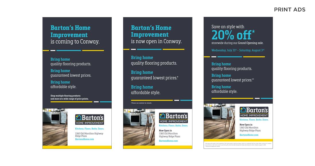 Barton's Home Improvement Print Ads