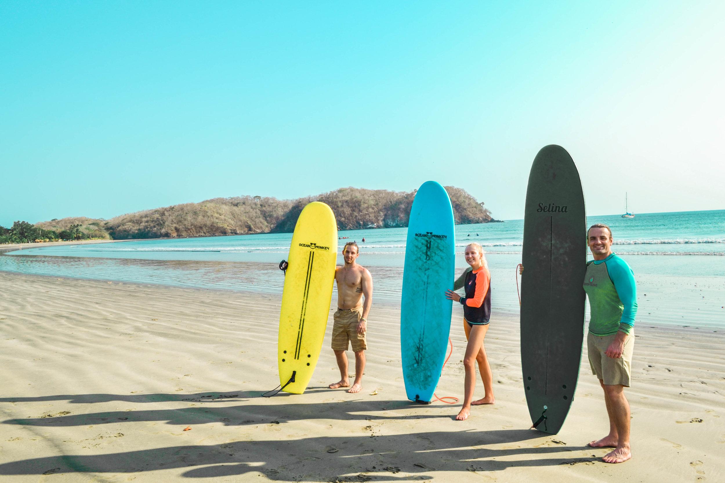 Surfing in playa venao