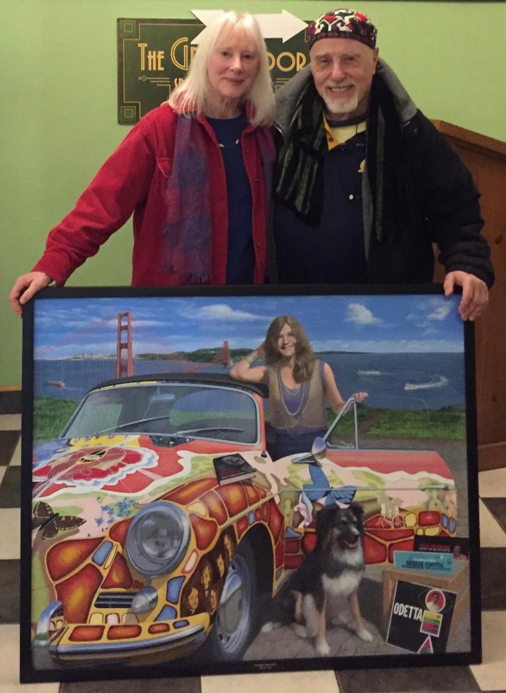 Chris with Dave Getz, drummer and founding member of Big Brother and the Holding Company (and painter too!)