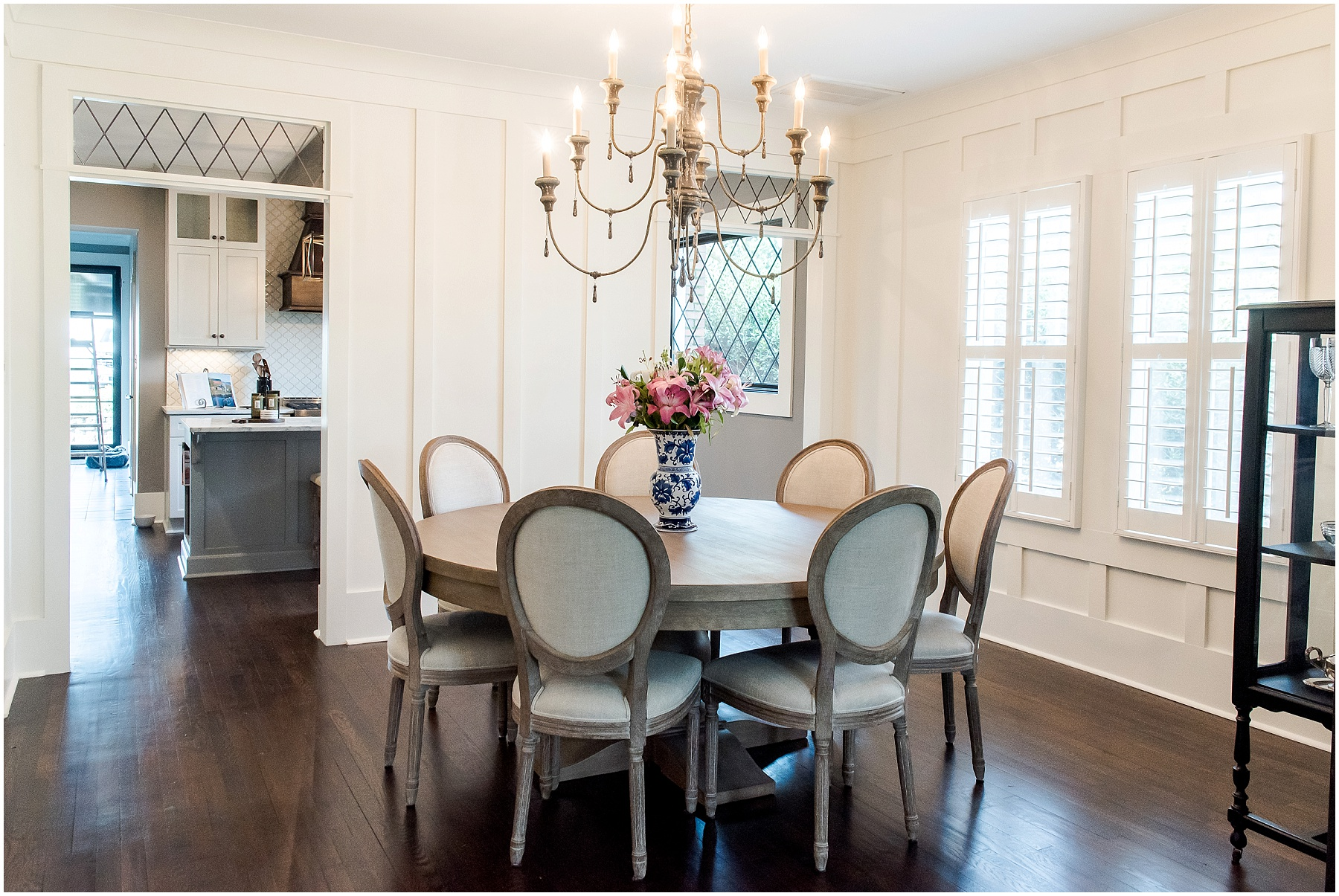 dining room designed by copper dwelling and design with custom judge's paneling installed