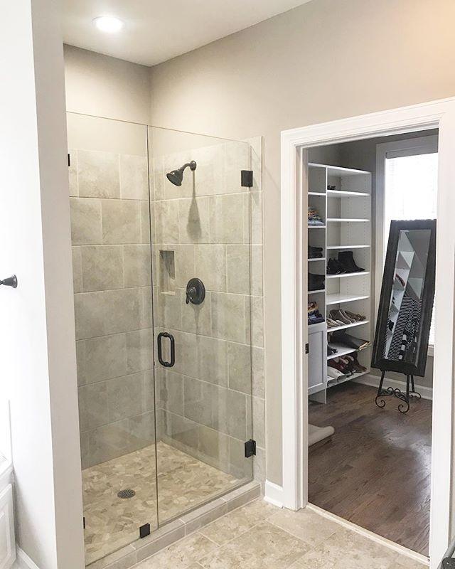Updated spaces make for happy places!  #copperdwellinganddesign #masterbathreno #tile #hardwoods #builtins #framelessshowerdoor