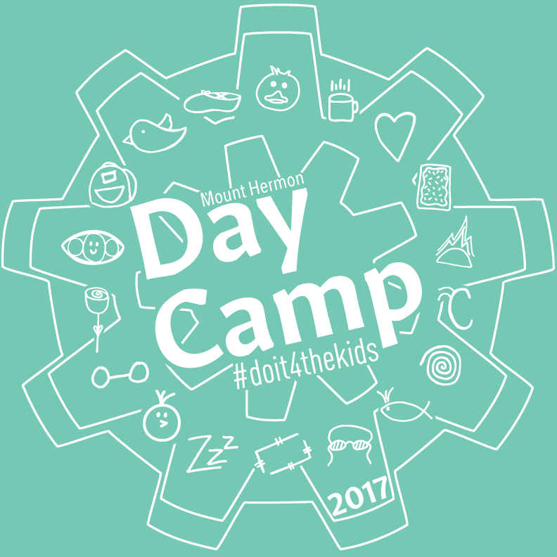 """The Final Design - The final design showcases each of the counselors' symbols enclosed in a gear. The title of our team """"Day Camp"""" is prominently featured in the center."""