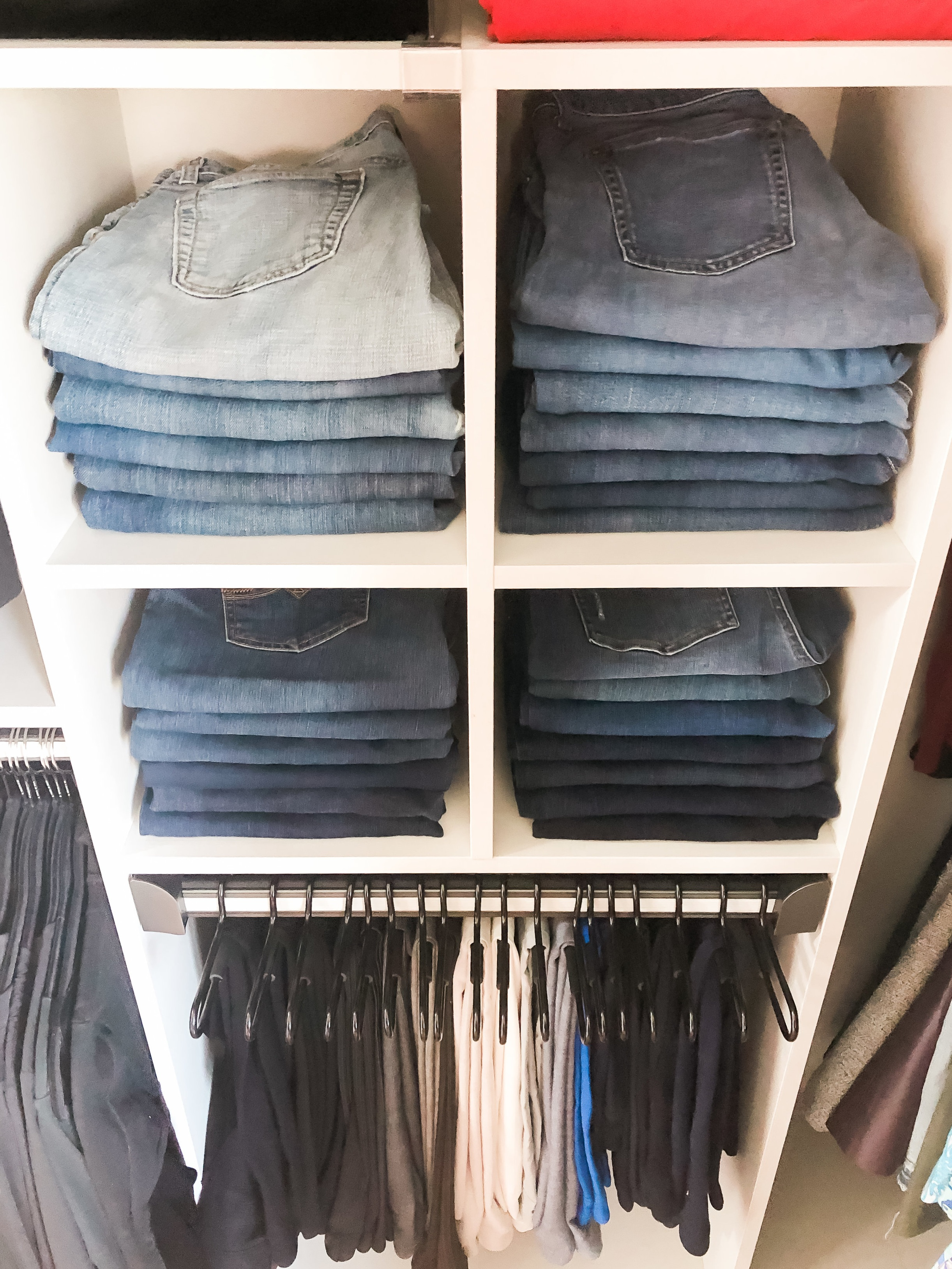 Master Closet Denim Organization