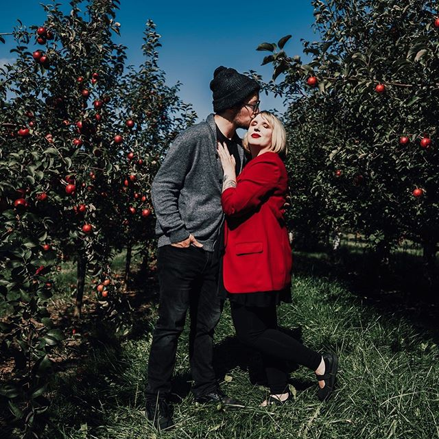 This was the first weekend we didn't have a wedding to film in months, and we decided to leave our editing chairs and take some time to ourselves to explore some apple orchards.  This is the look of two very content people filled with apple cider donuts, hot apple cider, apple cider slushies, and love. #appleorchard #apples #appletree #love #photography #outdoorphotography #nature #explore #photoshoot #fall #fallphoto