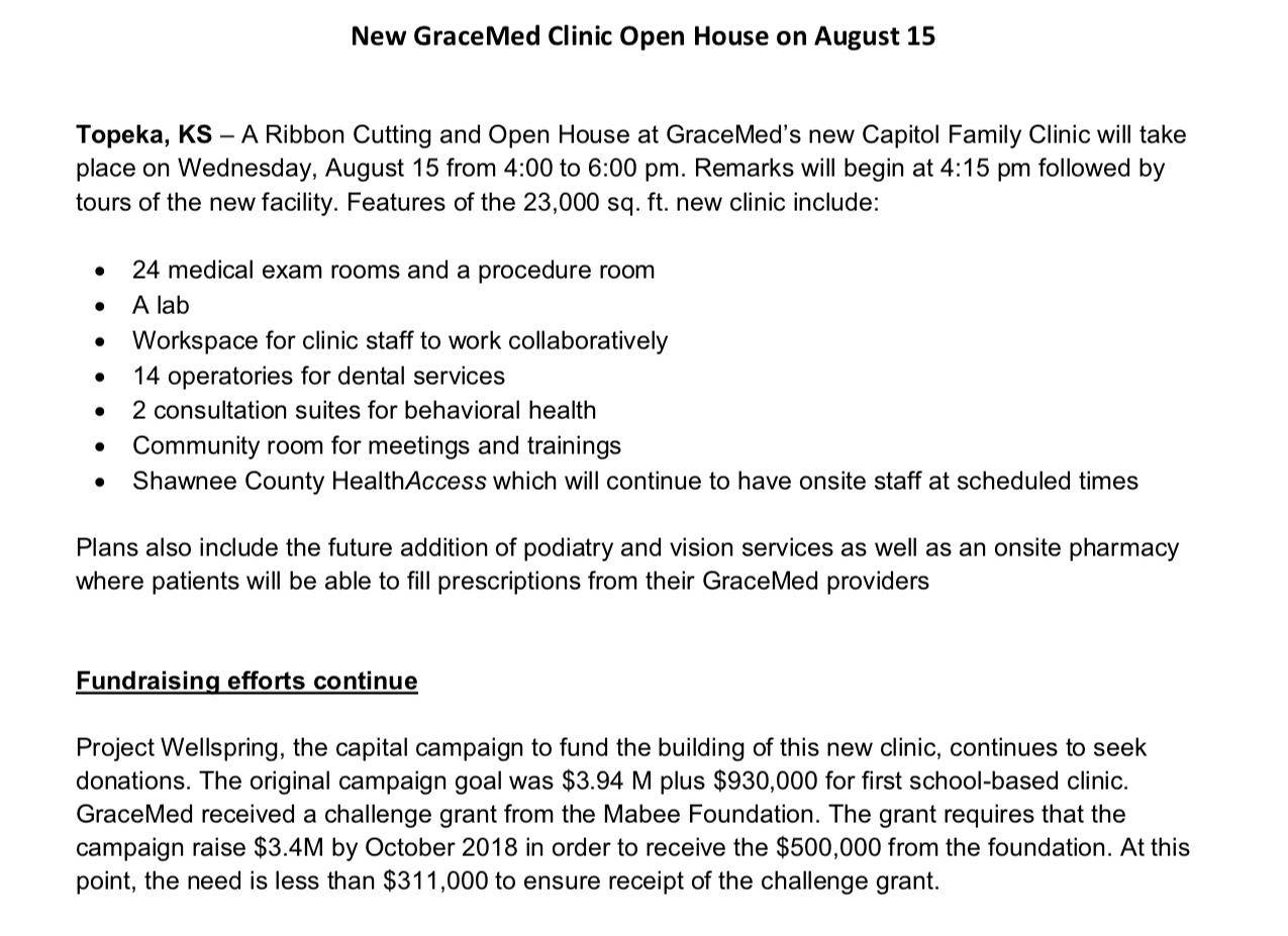 Media Release - Open House