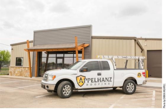 Appelhanz Roofing celebrated 40 years of business by moving to a larger, more convenient location that gives them a new show room, upgraded technology systems and room to grow.