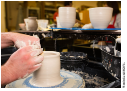 Monette Mark, owner of Fire Me Up Ceramics & Fine Art Studios, says making pottery is a form of therapy—a stress reliever as well as a form of self-expression.