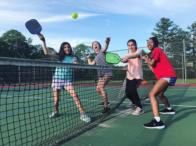 Camp is the perfect place to try new sports! Who else likes playing pickleball?? . . . . . . . .  @usapickleball #mainepickleball #pickleball #trynewsports #growingroutes #summercamp #mainesummercamps #youthempowerment #mainesummer #overnightcamp #daycamp #getoutside #artsandcrafts #campchloe