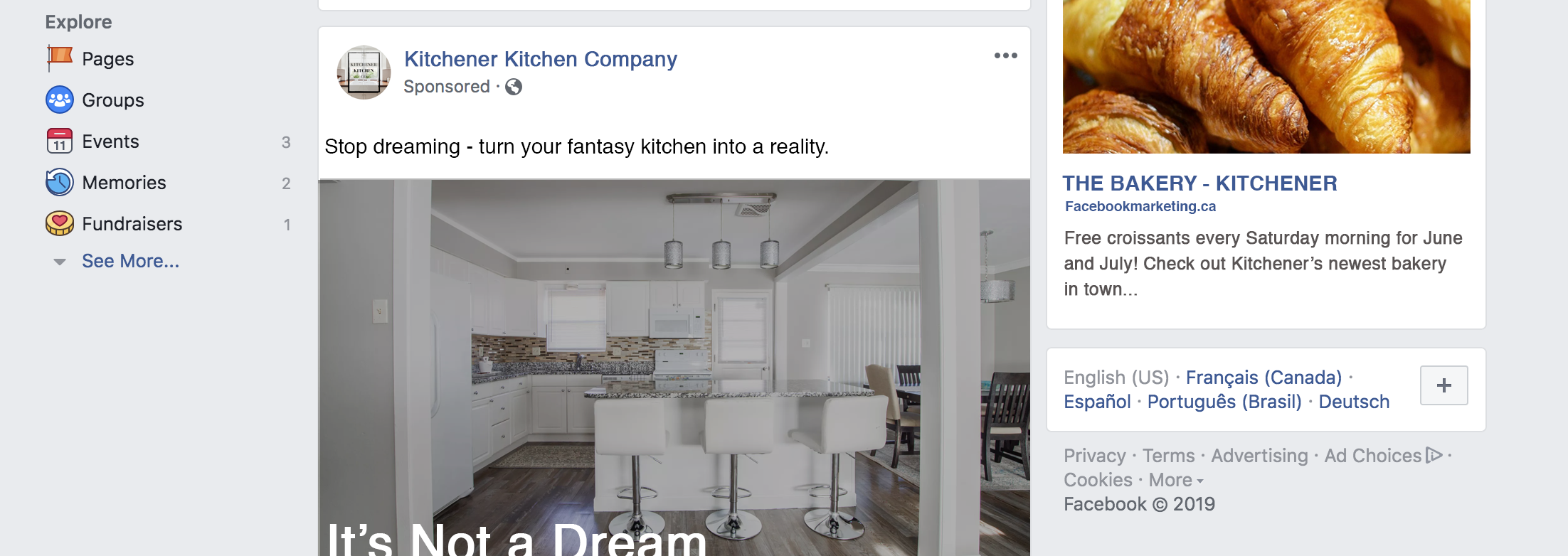 Example of what local advertisements could look like on Facebook