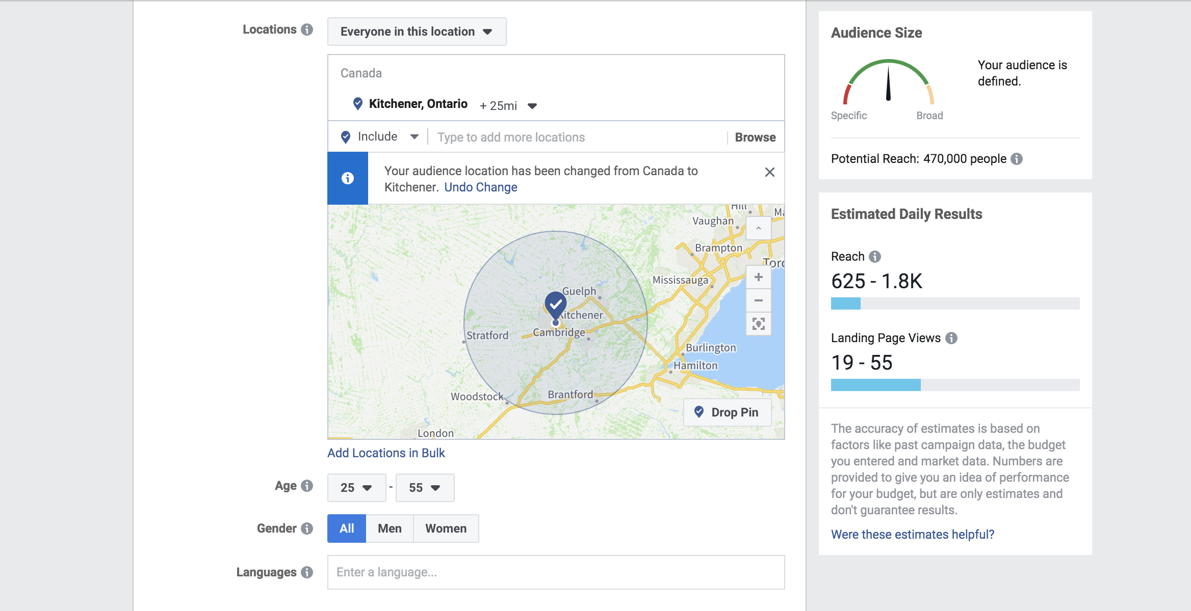 Example of a    Facebook ad    targeting users in Kitchener, Ontario
